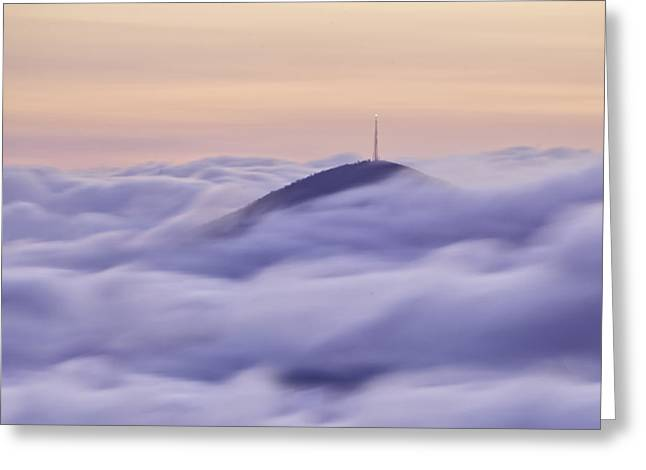 Mount Pisgah in the Clouds Greeting Card by Rob Travis
