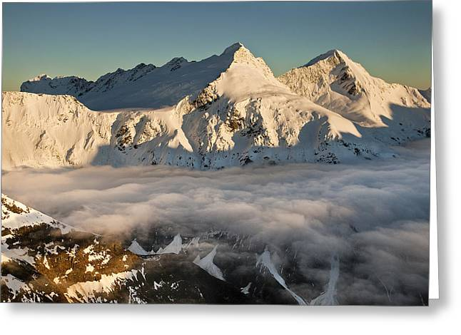 Pollux Greeting Cards - Mount Pollux And Mount Castor At Dawn Greeting Card by Colin Monteath