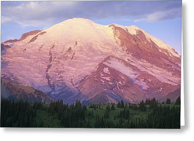 Mount Rainier At Sunrise Mount Rainier Greeting Card by Tim Fitzharris