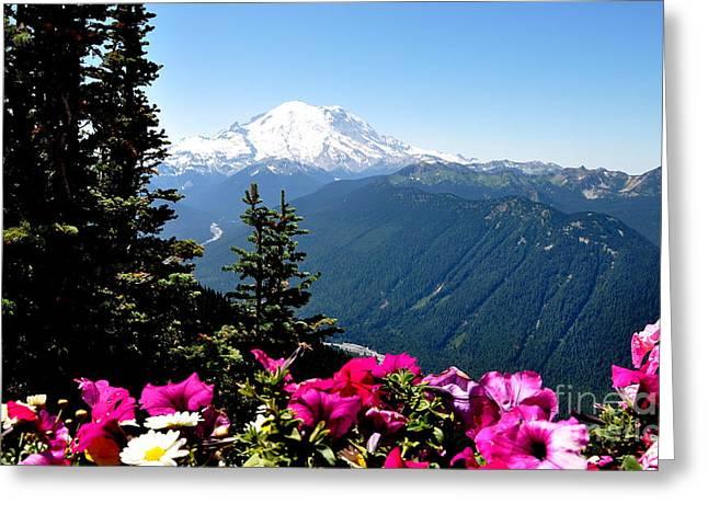 Crystall Greeting Cards - Mount Rainier Seen from Crystal Mountain Summit  5 Greeting Card by Tanya  Searcy