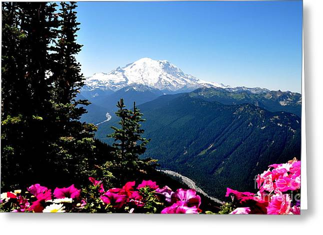 Crystall Greeting Cards - Mount Rainier Seen from Crystal Mountain Summit  6 Greeting Card by Tanya  Searcy