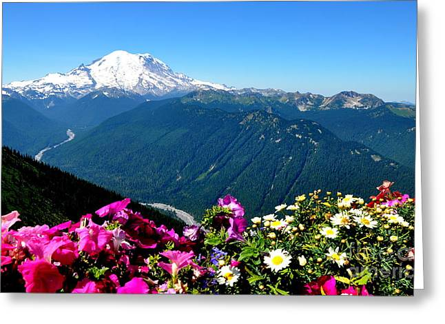 Mount Rainier Seen From Crystal Mountain Summit Greeting Card by Tanya  Searcy