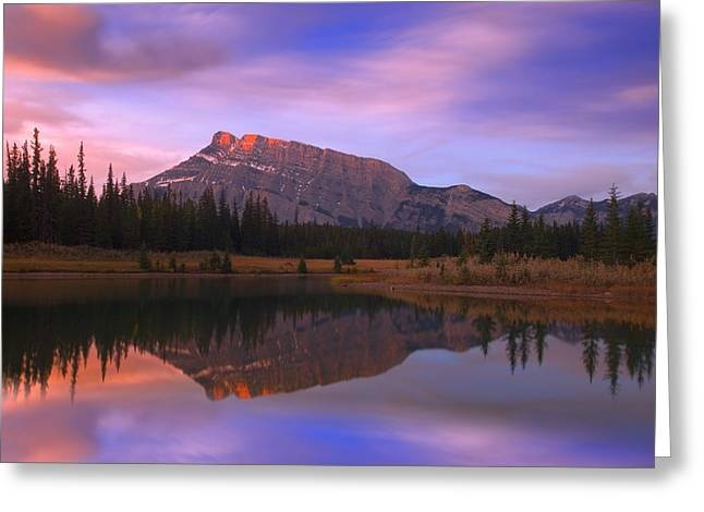 Mount Rundle And The Cascade Ponds In Greeting Card by Carson Ganci