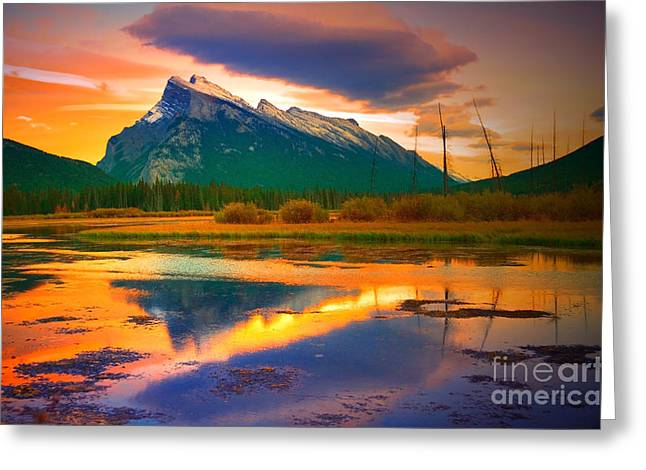 Rundle Greeting Cards - Mount Rundle Sundown Greeting Card by Tara Turner