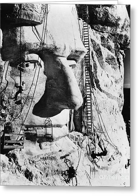 Portrait Sculpture Photograph Greeting Cards - Mount Rushmore, 1936 Greeting Card by Granger