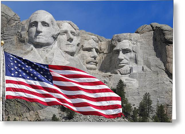 Rushmore Photographs Greeting Cards - Mount Rushmore Greeting Card by Christian Heeb