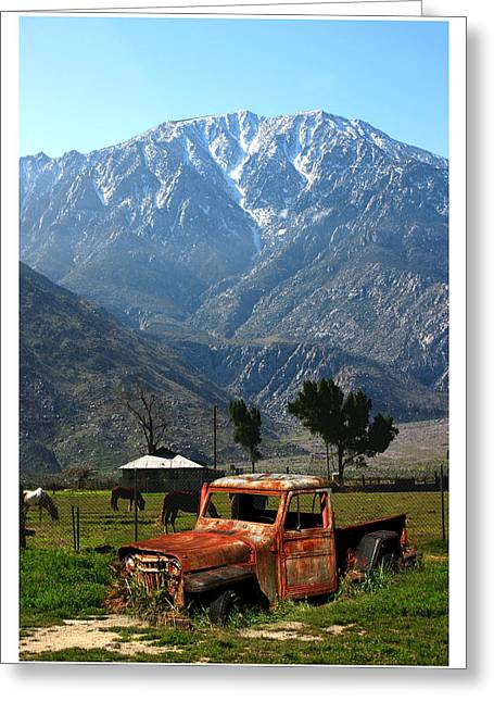 Light Within Greeting Cards - 1941 Willys week end project under Mount San Jacinto  Greeting Card by Jack Pumphrey