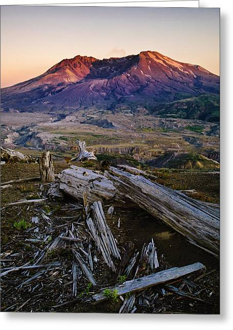 Johnston Greeting Cards - Mount St. Helens Sunset Greeting Card by Greg Vaughn - Printscapes