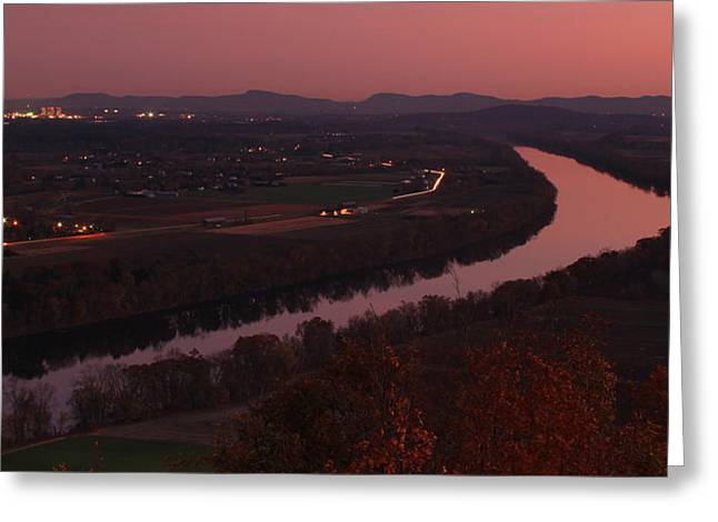 Umass Greeting Cards - Mount Sugarloaf Twilight Autumn Panorama Greeting Card by John Burk