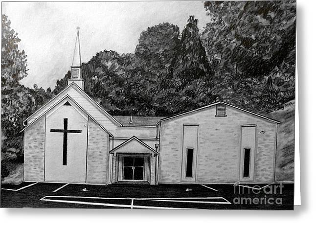 Brick Buildings Drawings Greeting Cards - Mount Union Church of the Brethren Greeting Card by Julie Brugh Riffey
