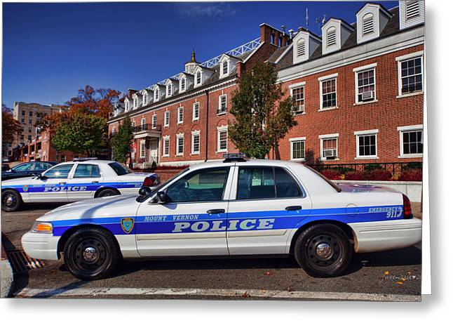 Police Patrol Law Enforcement Greeting Cards - Mount Vernon Police Department Greeting Card by June Marie Sobrito