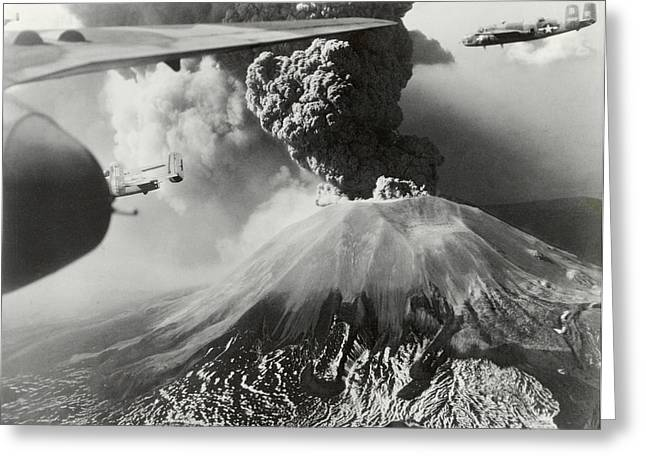 Flyer Greeting Cards - Mount Vesuvius Coughs Up Ash And Smoke Greeting Card by Us Army Air Forces Official