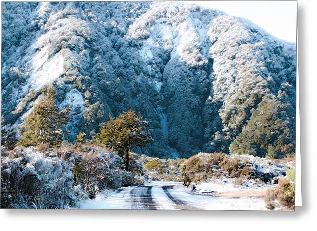 Hoar Frost Greeting Cards - Mountain and Ice Greeting Card by Linde Townsend