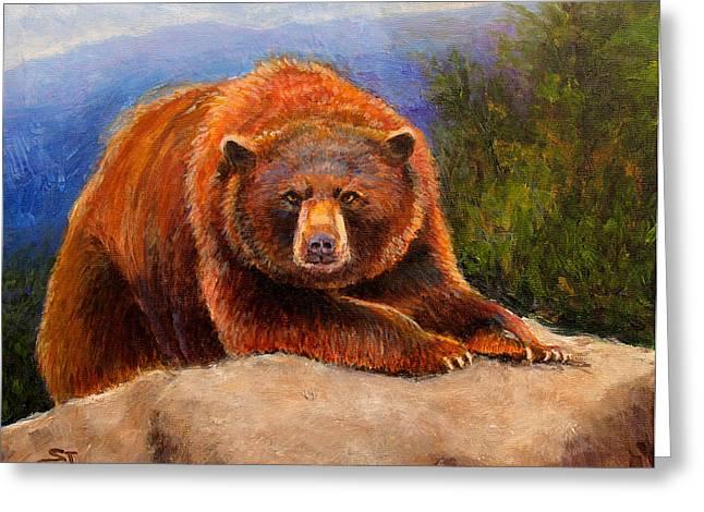 Kodiak Paintings Greeting Cards - Mountain Bear Greeting Card by Susan Jenkins