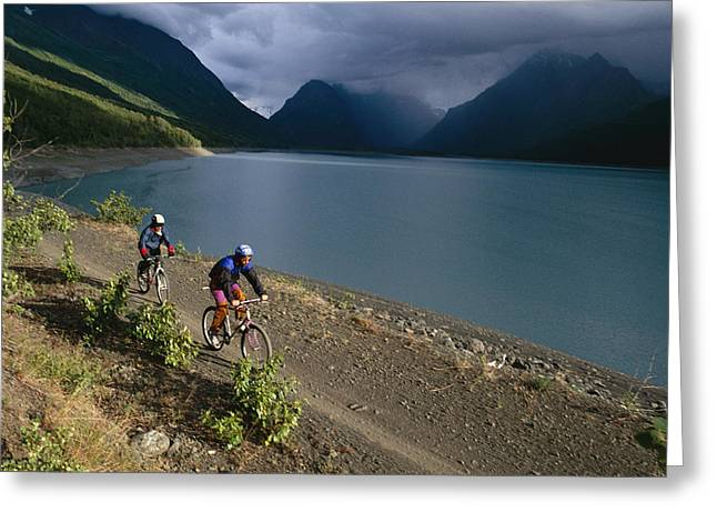 Mountain Biking Around Eklutna Lake Greeting Card by Rich Reid