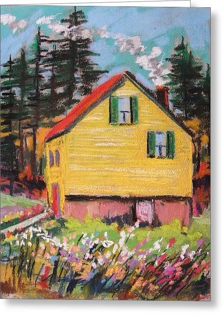 Sunlight On Flowers Drawings Greeting Cards - Mountain Cabin Greeting Card by John  Williams
