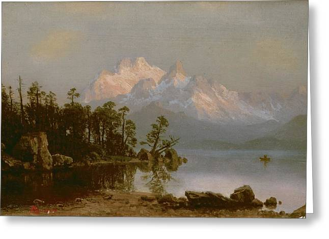 Bierstadt Greeting Cards - Mountain Canoeing Greeting Card by Albert Bierstadt