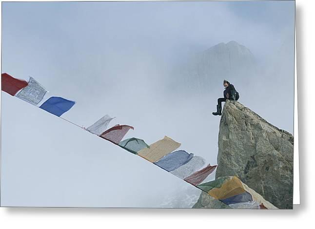 Mountain Climber Alex Lowe Sits Greeting Card by Gordon Wiltsie
