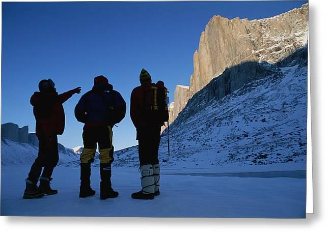 Mountain Climbers On Frozen Stewart Greeting Card by Gordon Wiltsie