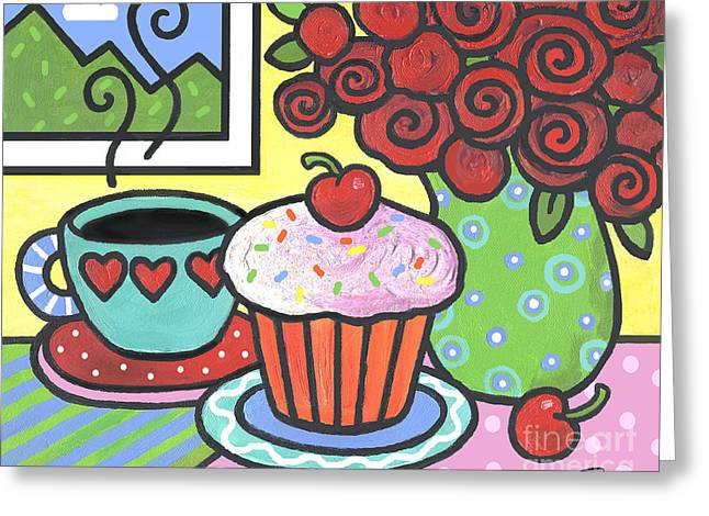 Cupcake Paintings Greeting Cards - Mountain Cupcake Greeting Card by Renee Womack
