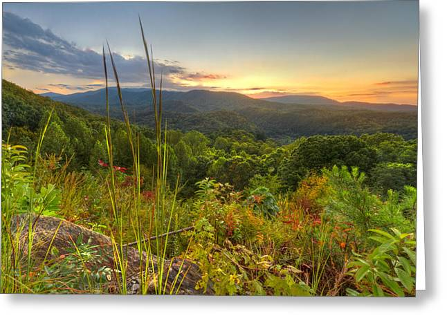 Mountain Evening Greeting Card by Debra and Dave Vanderlaan