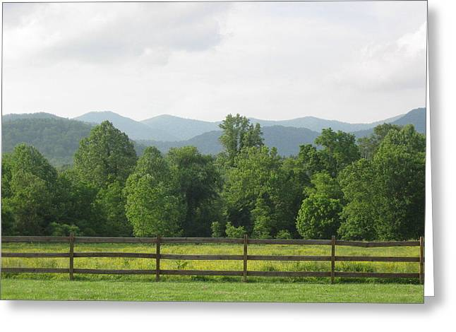 Warren Wilson College Greeting Cards - Mountain Field Greeting Card by Sarah Hannush