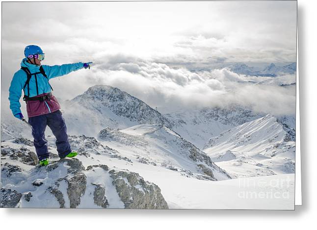 Alps Greeting Cards - MOUNTAIN GUIDE snowboard instructor pointing out peaks in Davos Greeting Card by Andy Smy