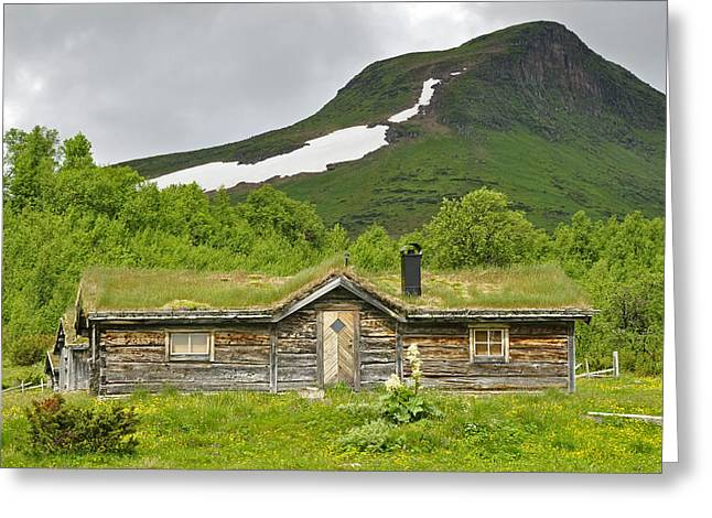 Old Cabins Pyrography Greeting Cards - Mountain house Greeting Card by Conny Sjostrom