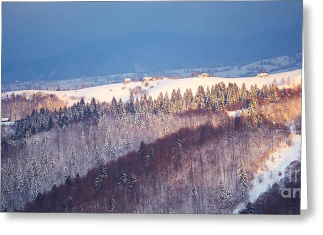 Mountain landscape in Brasov county Greeting Card by Gabriela Insuratelu