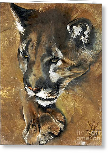 Indigenous Greeting Cards - Mountain Lion - Guardian of the North Greeting Card by J W Baker