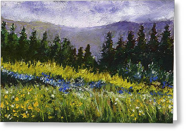David Patterson Pastels Greeting Cards - Mountain Meadow Greeting Card by David Patterson