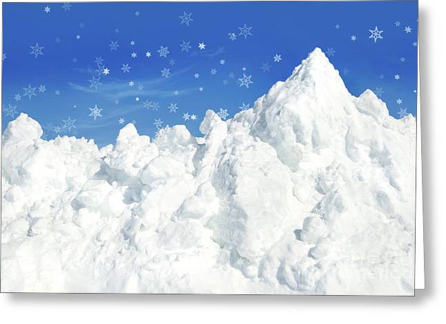 Cold Photographs Greeting Cards - Mountain of snow Greeting Card by Sandra Cunningham