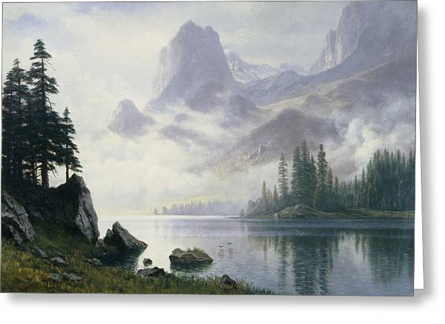 Bierstadt Greeting Cards - Mountain out of the Mist Greeting Card by Albert Bierstadt