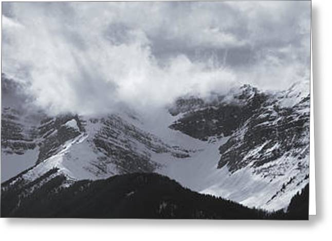 Snowy Day Greeting Cards - Mountain Panoramic In Winter, Spray Greeting Card by Darwin Wiggett