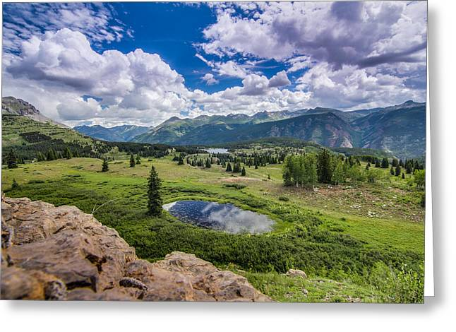 Green Day Greeting Cards - Mountain Pass Greeting Card by Chris Multop