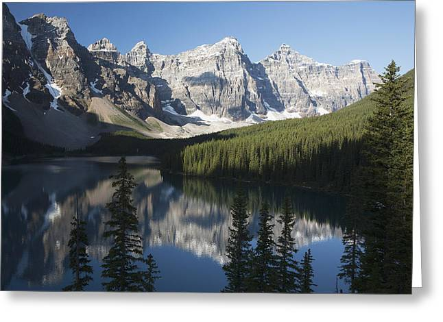 Awe Inspiring Greeting Cards - Mountain Range And Lake Reflection With Greeting Card by Michael Interisano