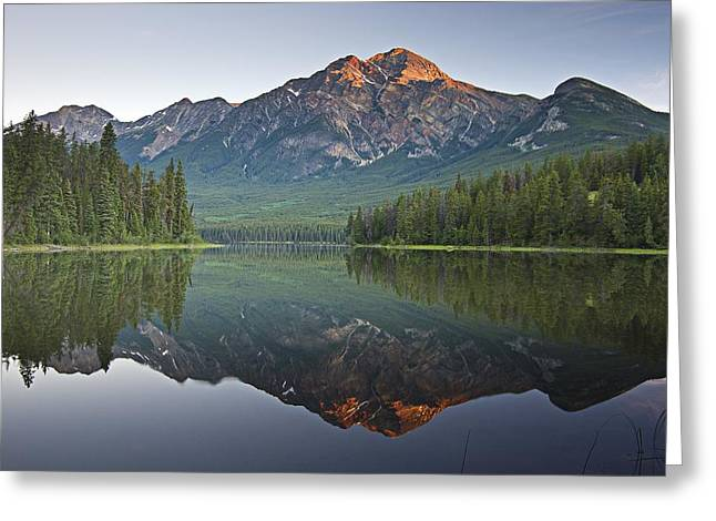 Reflections Of Sky In Water Greeting Cards - Mountain Reflection, Pyramid Mountain Greeting Card by Robert Brown