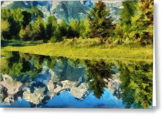 Snowed Trees Pastels Greeting Cards - Mountain Reflections Greeting Card by Russ Harris