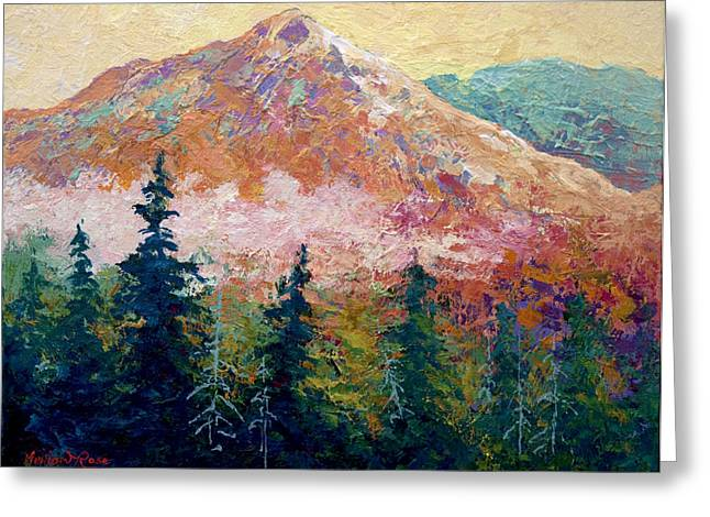 Lake Paintings Greeting Cards - Mountain Sentinel Greeting Card by Marion Rose