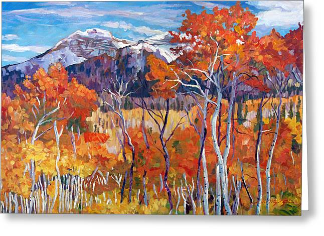 Autumn Landscape Paintings Greeting Cards - Mountain Silence Greeting Card by David Lloyd Glover