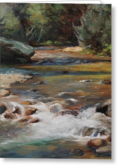 Mountain Stream Greeting Card by Anna Rose Bain