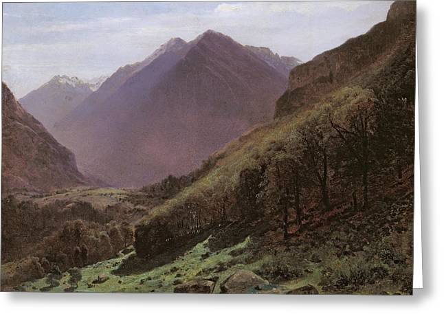 Mountain Valley Paintings Greeting Cards - Mountain Study Greeting Card by Alexandre Calame