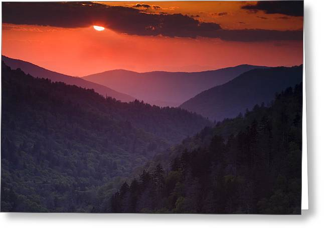 Great Smoky Mountains Greeting Cards - Mountain Sunset Greeting Card by Andrew Soundarajan