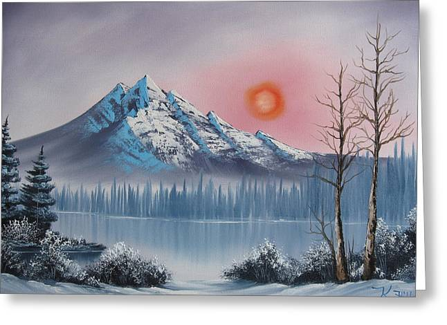 Bob Ross Paintings Greeting Cards - Mountain Sunset Greeting Card by Kevin Hill