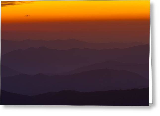 Smoky Greeting Cards - Mountain Sunset Greeting Card by Steve Gadomski