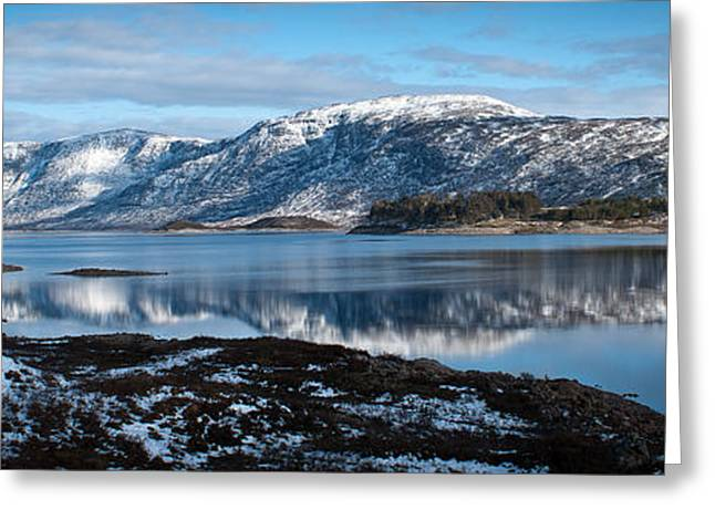 Mountain Reflection Lake Summit Mirror Greeting Cards - Mountain tranquillity  Greeting Card by Chris Boulton