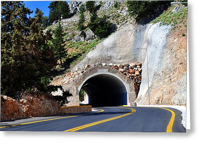 Yellow Line Greeting Cards - Mountain tunnel. Greeting Card by Fernando Barozza