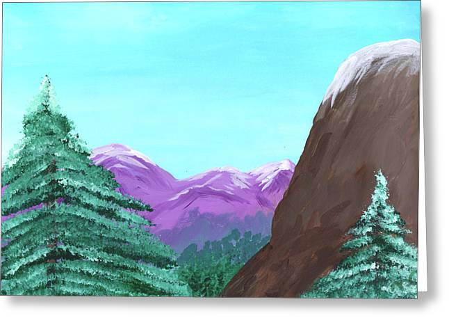 Acrylic Art Greeting Cards - Mountain View Greeting Card by Jose Valeriano
