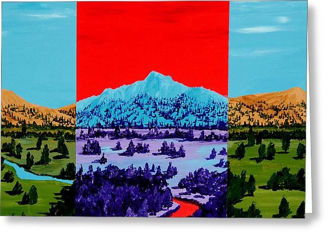 Mountain Valley Paintings Greeting Cards - Mountain View Greeting Card by Randall Weidner