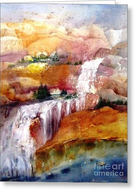 Maryann Greeting Cards - Mountain Waterfall Greeting Card by Maryann Schigur